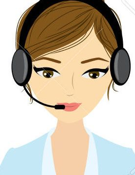 Customer service representative at computer in headset. isolated on white. Cartoon phone operator. Vector illustration